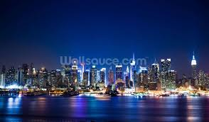 manhattan skyline manhattan night skyline wallpaper wall mural wallsauce usa
