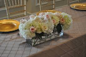 floral arrangement head table hydrangea ivory and pale pink