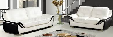 Modern Sofa And Loveseat White Black Bonded Leather Modern Sofa U0026 Loveseat Set W Options