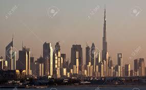 Al Burj by Skyline Dubai Skyscrapers And Burj Al Khalifa Stock Photo