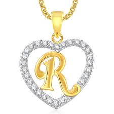 heart gold necklace diamonds images Buy meenaz 39 r 39 letter heart gold plated in american diamond cz jpg