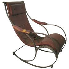 19th century steel and leather rocking chair by r w winfield at