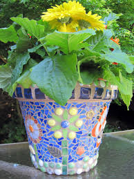 awesome looking flowers accessories beautiful green flower mosaic plant pots with blue