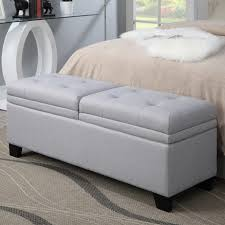 Gray Storage Bench Bedroom Modern Bed Bench Modern Entryway Bench Leather Storage