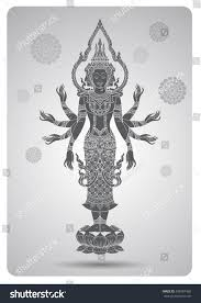 brahma outline tradition thai design vector stock vector 408987460