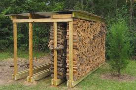 backyard rustic house design with diy covered firewood rack