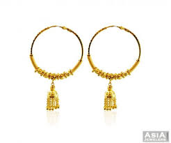 gold jhumka hoop earrings 22k fancy gold jhumka hoops indian jewels fancy