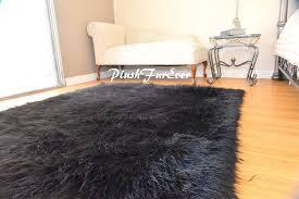 Faux Fur Area Rugs 5 U0027x6 U0027 Faux Fur Rug Rectangle Area Rug Black Shaggy Premium Furry