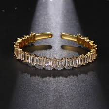 cuff bracelet gold plated images Famous brand style adjustable cubic zircon love cuff bangle jpg