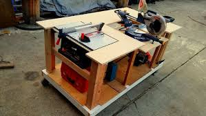 mobile workbench with built in table u0026 miter saws 8 steps with