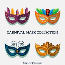 carnival masks several carnival masks in flat design vector free