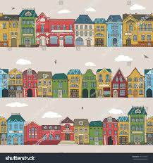 set 3 seamless borders european houses stock vector 377410945