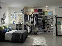 bedroom closet design with simple open wired shelving home