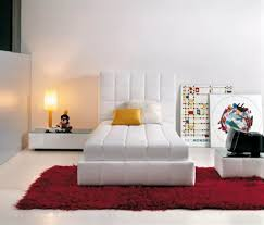 bedroom with modern white single bed frame and red shag rug