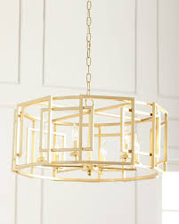 Square Chandelier Gold Leaf Square Motif Drum Chandelier Neiman
