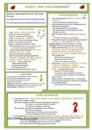 subject and verb agreement worksheets verbs pinterest