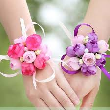 silk ribbon 6pcs wrist flower silk ribbon corsage flower