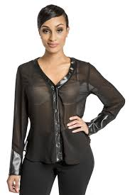 womens black blouse poetic justice s black v neck button up blouse with vegan