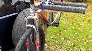 jeep wrangler mountain bike home made spare tire bike rack youtube