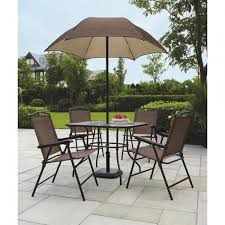Patio Furniture Set With Umbrella - mainstays sand dune 6 piece folding patio dining set with umbrella