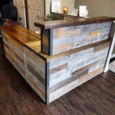 Reclaimed Wood Reception Desk Custom Made Rustic Reclaimed Wood And Live Edge Reception Desk