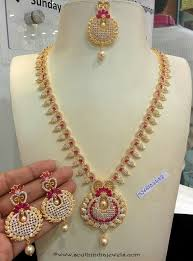necklace stone setting images Imitation cz stone ruby necklace set long necklace collections jpg