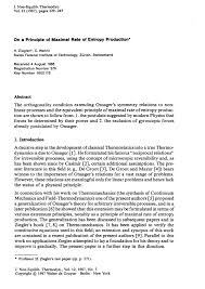 on a principle of maximal rate of entropy production journal of