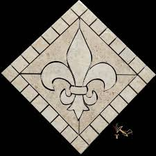 12 fleur de lis ceramic floor medallion or backsplash artisan