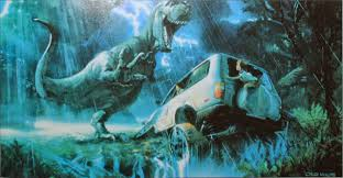 jurassic park car trex spectacularly colorful jurassic park concept art by craig mullins