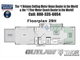 Motorhome Floor Plans Class C by 2018 Thor Motor Coach Outlaw 29h Toy Hauler Class C Rv For Sale At