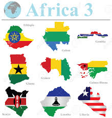 Ghana Africa Map Flags Of Africa Collection 3 Overlaid On Outline Map Isolated
