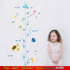 compare prices on chart stickers online shopping buy low price cute nemo cartoon sea fish wall decals baby child kids growth height measure chart wall sticker