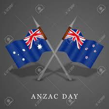 Ustralia Flag Illustration Of New Zealand And Australia Flag For Anzac Day