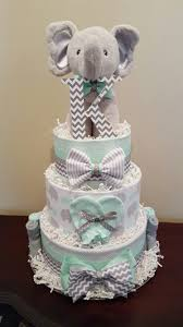 mint green and grey elephant diaper cake baby shower centerpiece