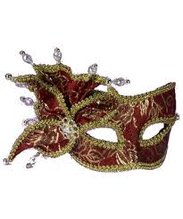 red and gold masquerade mask costume mask
