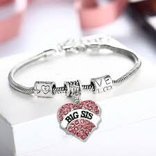 heart bracelet charms images Big sister bracelets love heart red crystal accessories bracelet jpg