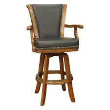 Leather Swivel Bar Stool Furniture Brown Wooden Arm Bar Stool With Black Leather Seat And
