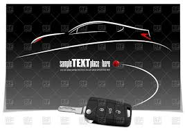 sketch of car silhouette and key with car alarm on black