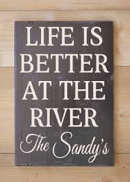 Family Wood Sign Home Decor Personalized River Sign Family Name Signs River House Gifts Decor