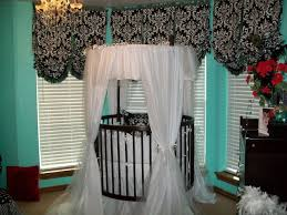 pool fabric baby bed cor black damask pattern valance curtain