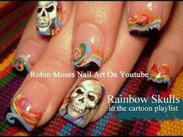 rainbow skull tattoo nail art youtube