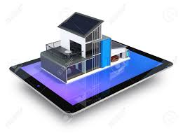 energy efficient apartment with solar panels system on tablet
