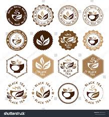 black tea package decorations stickers sts stock vector
