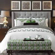 gray and green bedroom custom uph beds dublin winged bed nail head hgtv and antique brass