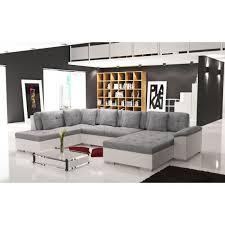 grand canapé en u gris et blanc smile 6 à 7 places achat vente