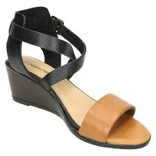 ladies leather collection tan wedge sandals f10502 282310167696