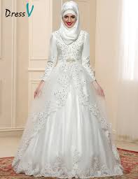 muslim wedding dress 2017 luxury sleeves muslim wedding dresses high neck