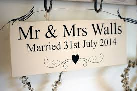mr and mrs sign for wedding personalised mr mrs wedding sign by hush baby sleeping