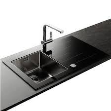 evier cuisine design évier en inox lisse et verre noir 1 bac égouttoir gauche