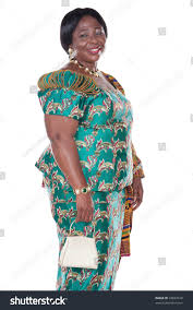 senior african woman traditional ghana clothing stock photo